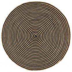 stradeXL Dywanik ręcznie wykonany z juty, spiralny wzór, czarny, 90 cm