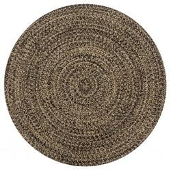 stradeXL Ręcznie wykonany dywanik, juta, czarny i naturalny, 90 cm