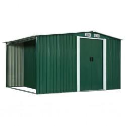 stradeXL Szopa z drzwiami przesuwnymi, zielona, stal, 329,5x131x178 cm
