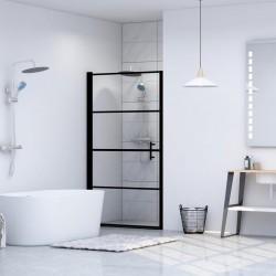 stradeXL Drzwi prysznicowe, hartowane szkło, 91 x 195 cm, czarne