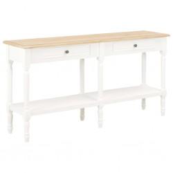 stradeXL Komoda, biała i brązowa, 150x35x77 cm, lite drewno