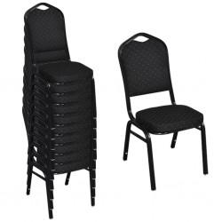 stradeXL Krzesła stołowe, 10 szt., czarne, tkanina