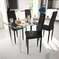 4 wysokie czarne krzesła do jadalni + stół ze szklanym blatem
