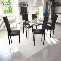 6 wysokich, czarnych krzeseł do jadalni + stół ze szklanym blatem