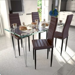 4 wysokie brązowe krzesła do jadalni + stół ze szklanym blatem