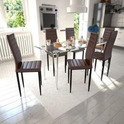 6 wysokich, brązowych krzeseł do jadalni + stół ze szklanym blatem