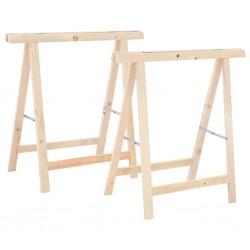 stradeXL Składane stojaki do piłowania drewna, 2 szt., sosna