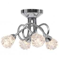 stradeXL Lampa sufitowa z kratkowanymi kloszami ze szkła, 4 żarówki G9