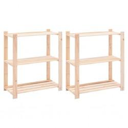 stradeXL Regały z 3 półkami, 2 szt., 80x38x90 cm, sosna, 150 kg