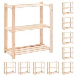 stradeXL Regały z 3 półkami, 10 szt., 80x38x90 cm, sosna, 150 kg