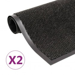 stradeXL Wycieraczki, 2 szt., prostokątne, tuftowane, 60x90 cm, czarne