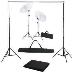stradeXL Fotograficzny zestaw studyjny z tłem, lampami i parasolkami