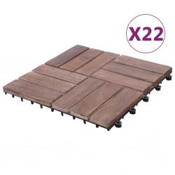 stradeXL Płytki tarasowe, 22 szt., 30x30 cm, lite drewno z odzysku
