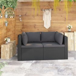 stradeXL 2-częściowa sofa ogrodowa, z poduszkami, polirattan, czarna