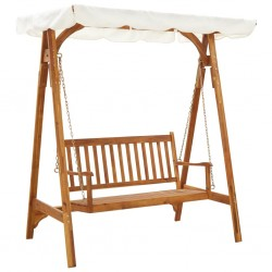 stradeXL Garden Swing Bench with Canopy Solid Acacia Wood