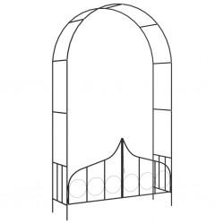 stradeXL Pergola ogrodowa z furtką, czarna, 138x40x238 cm, żelazna