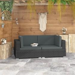 stradeXL Fotele narożne, 2 szt., z poduszkami, polirattan, czarne