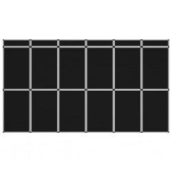 stradeXL 18-panelowa składana ścianka wystawiennicza, 362x200 cm, czarna