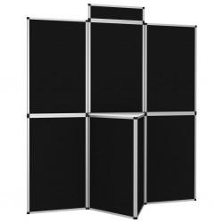 stradeXL 8-panelowa ścianka wystawiennicza ze stolikiem 181x200cm czarna
