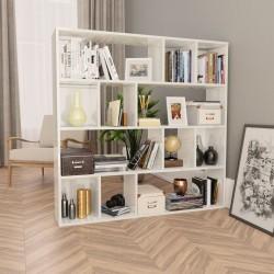 stradeXL Przegroda/regał na książki, wysoki połysk, biały, 110x24x110 cm