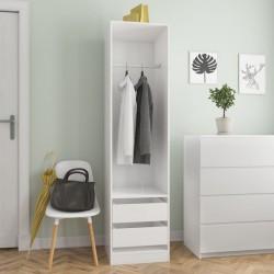 stradeXL Szafa z szufladami, wysoki połysk, biała, 50x50x200 cm