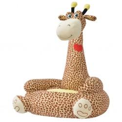 stradeXL Fotel dla dzieci żyrafa, pluszowy, brązowy
