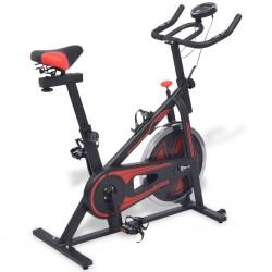 stradeXL Stacjonarny rower treningowy z pomiarem pulsu, czarno-czerwony