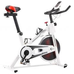 stradeXL Rower spinningowy do ćwiczeń, z pomiarem pulsu, biało-czerwony