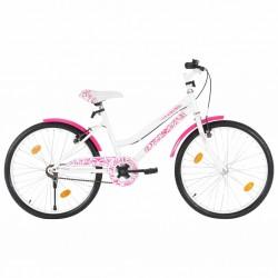stradeXL Rower dla dzieci, 24 cali, różowo-biały