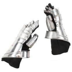 stradeXL Replika rycerskich rękawic średniowiecznych, LARP, srebrna stal