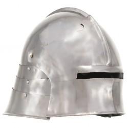 stradeXL Replika średniowiecznego zabytkowego hełmu, LARP, srebrna stal