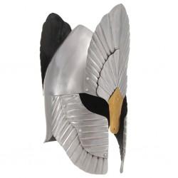 stradeXL Replika średniowiecznego hełmu, stylizowana, LARP, srebrna stal