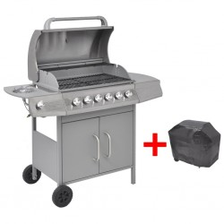 stradeXL Gas Barbecue Grill 6+1 Cooking Zone Silver