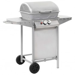 stradeXL Gas BBQ Grill with 2 Cooking Zones Silver Stainless Steel