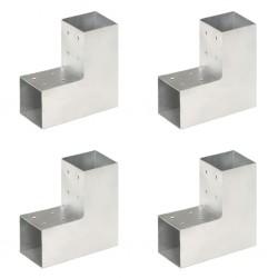 stradeXL Łączniki w kształcie L, 4 szt., galwanizowany metal, 81x81 mm