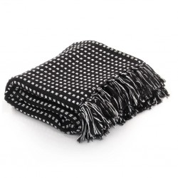 stradeXL Throw Cotton Squares 160x210 cm Black