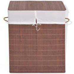 stradeXL Bambusowy kosz na pranie, prostokątny, brązowy