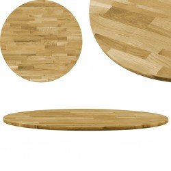 stradeXL Okrągły blat do stolika z litego drewna dębowego, 23 mm, 600 mm