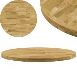 stradeXL Okrągły blat do stolika z litego drewna dębowego, 44 mm, 700 mm