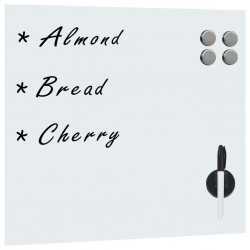 stradeXL Wall Mounted Magnetic Board Glass 50x50 cm