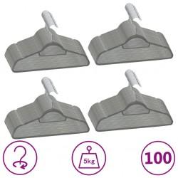 stradeXL 100 pcs Clothes Hanger Set Anti-slip Grey Velvet