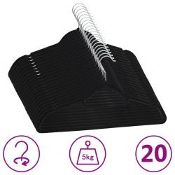 stradeXL 20 pcs Clothes Hanger Set Anti-slip Black Velvet