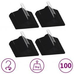 stradeXL 100 pcs Clothes Hanger Set Anti-slip Black Velvet