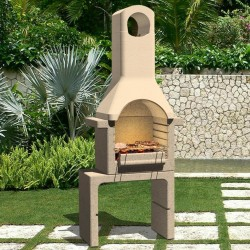 stradeXL Betonowy grill z kominem, na węgiel drzewny