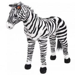 stradeXL Pluszowa zebra, stojąca, czarno-biała, XXL