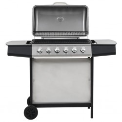 stradeXL Gas BBQ Grill with 6 Cooking Zones Stainless Steel Silver