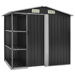 stradeXL Garden Shed with Rack Anthracite 205x130x183 cm Iron