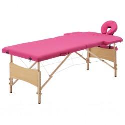 stradeXL Składany stół do masażu, 2 strefy, drewniany, różowy