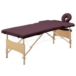 stradeXL Składany stół do masażu, 2 strefy, drewniany, fioletowy