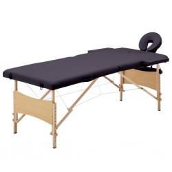 stradeXL Składany stół do masażu, 2 strefy, drewniany, winny fiolet